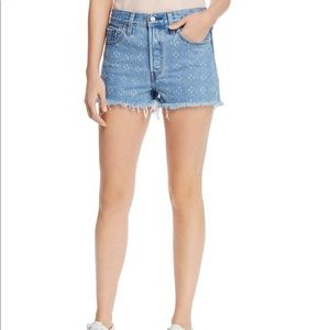 Levi's 501 high rise cutoff shorts in Dottie Blues